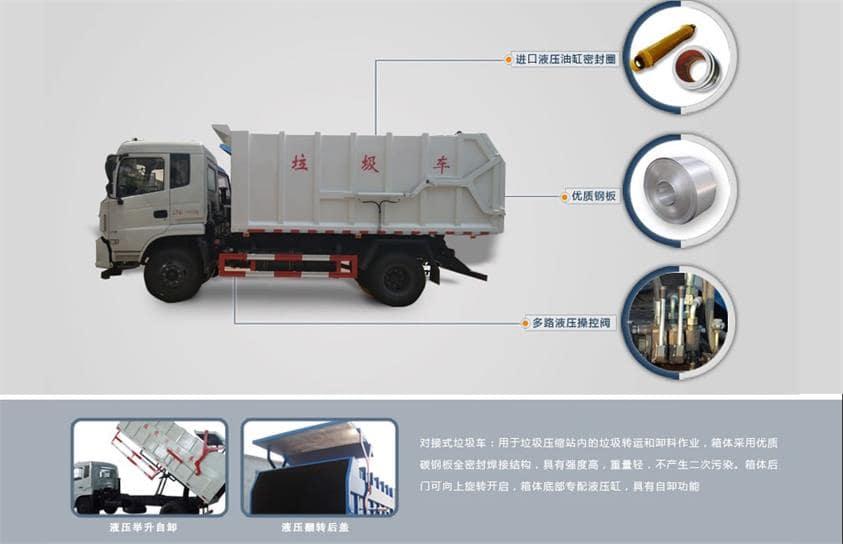 东风天锦17方对接式垃圾车整车结构一览